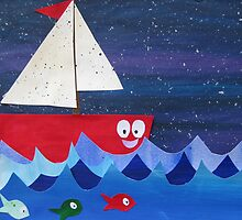 Boat has a float- rhyming collages for kids- made with math book drafts by cathyjacobs