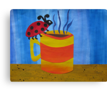 Lady Bug on a Mug - Animal Rhymes - created from recycled math books Canvas Print