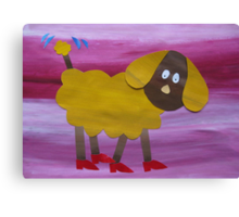 Dog in Clogs - Animal Rhymes - created from recycled math books Canvas Print