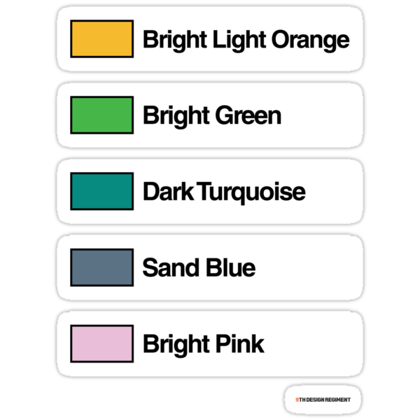 Brick Sorting Labels: Bright Light Orange, Bright Green, Dark Turquoise, Sand Blue, Bright Pink by 9thDesignRgmt