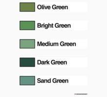 Brick Sorting Labels: Olive Green, Bright Green, Medium Green, Dark Green, Sand Green by 9thDesignRgmt