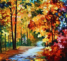 Red Fall - Oil painting on Canvas By Leonid Afremov by Leonid  Afremov