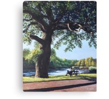 Southampton Riverside park oak tree with cyclist Canvas Print