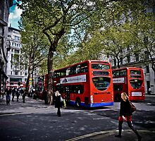 Double-decker buses in London by SirInkman