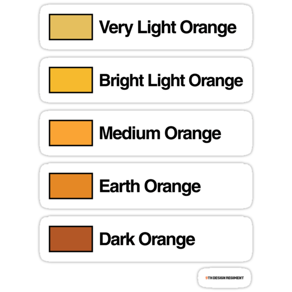 Brick Sorting Labels: Very Light Orange, Bright Light Orange, Medium Orange, Earth Orange, Dark Orange by 9thDesignRgmt