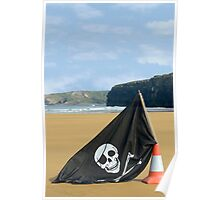 beach with jolly roger flag Poster