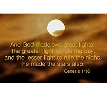 And God Made Two Great Lights Photographic Print