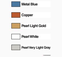 Brick Sorting Labels: Metal Blue, Copper, Pearl Light Gold, Pearl White, Pearl Very Light Gray by 9thDesignRgmt