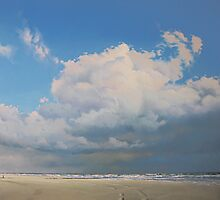 Beach With Cumulus Clouds by Janhendrik Dolsma