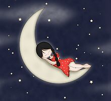 Whimsical Girl Sleeping on the Moon by ArtformDesigns