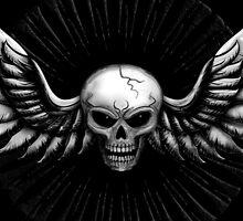 Skull with wings chromed by chromedreaming