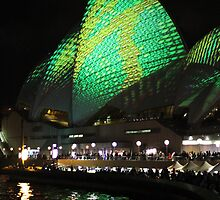 Vivid 2013 - Opera House Green 2 by Kezzarama
