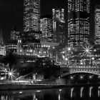 Princess Bridge & the Yarra River at night Melbourne. by Nick Griffin