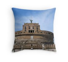 Angels on bridge and Castel Sant' Angelo, Rome, Italy Throw Pillow