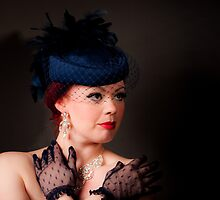 Blue Hat Lace Gloves by Christopher  Evans