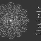 Sacred Mandala Card white design on grey by TheMandalaLady