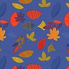 Abstract Blue Florar Pattern by rusanovska