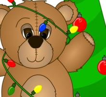Cute Teddy Bear Tangled in Christmas Tree Lights Sticker