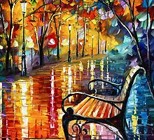 She Left 2 - Oil painting on Canvas By Leonid Afremov by Leonid  Afremov