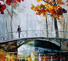 Little Bridge - Oil painting on Canvas By Leonid Afremov by Leonid  Afremov