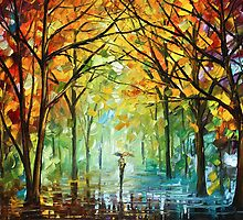 October in The forest - Oil painting on Canvas By Leonid Afremov by Leonid  Afremov