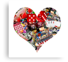 Heart - Las Vegas Playing Card Shape  Canvas Print