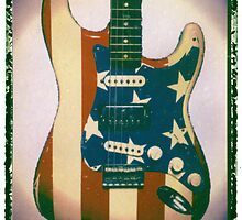 american flag guitar print photographic art prints music wall decor by guitarartprint