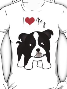 Cute Little Boston Terrier Puppy Dog T-Shirt