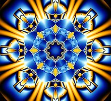 Sun dance of the Blue Butterflies, fractal kaleidoscope art by walstraasart