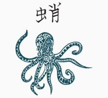 Blue Tribal Octopus & Kanji by Mark Kerr