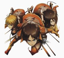 Eren , Mikasa, Armin Attack on Titans by VirtualMan