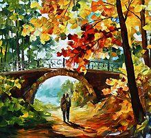 Under Bridge - Oil painting on Canvas By Leonid Afremov by Leonid  Afremov