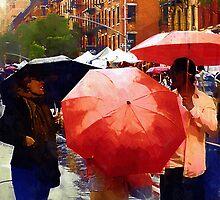 Red Umbrellas in the Rain by RC deWinter