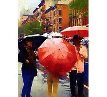 Red Umbrellas in the Rain Photographic Print