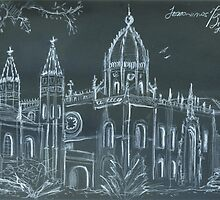jerónimos sketch on location. white pencil on black paper. by terezadelpilar~ art & architecture