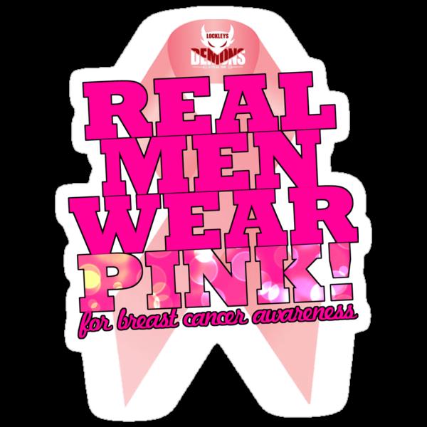 Real Men Wear Pink Wonky Lettering by rebecca brace