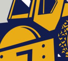 Flat Drum Road Roller Retro Sticker