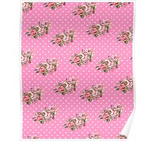 Girly Vintage Retro Floral Pattern Pink Polka Dots Poster