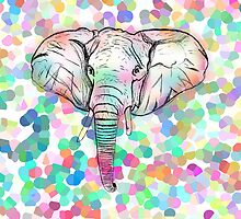 Whimsical Wild Elephant Sketch Pastel Polka Dots by GirlyTrend