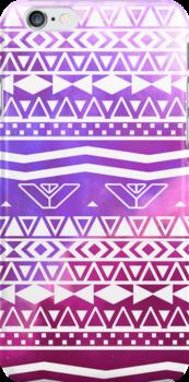 Trendy White Aztec Pattern Purple Nebula Space by GirlyTrend