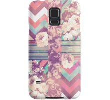 Retro Pink turquoise Floral Stripe Chevron Pattern Samsung Galaxy Case/Skin