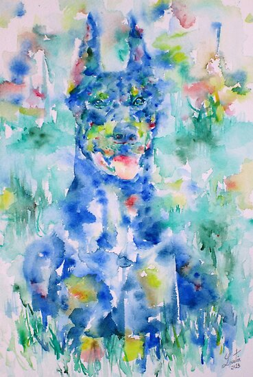 DOBERMAN in the GRASS - watercolor on paper by lautir