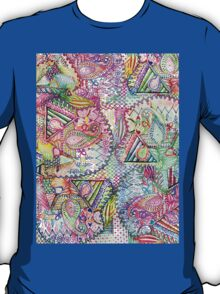 Abstract Girly Neon Rainbow Paisley Sketch Pattern T-Shirt