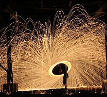 Travelling steel wool twirling by Frank Waite