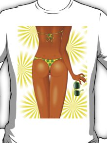 Tanned Girl's Body with Swimsuit T-Shirt
