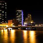 Grand Rapids Bridge at Night by naturesangle