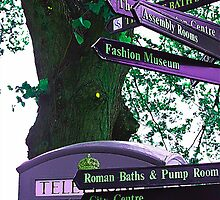 Signpost at public telephone in Bath  by Debra Kurs