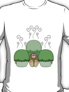 Cute Monster With Green Frosted Cupcakes T-Shirt