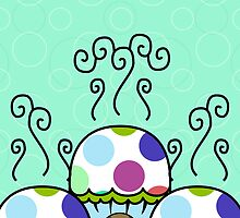 Cute Monster With Pink And Blue Polkadot Cupcakes by mydeas