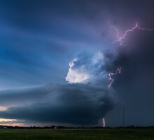 Broken Bow lightning, Nebraska, USA. by John Finney